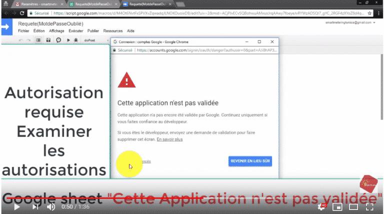 Google Sheets Cette application n'est pas validée