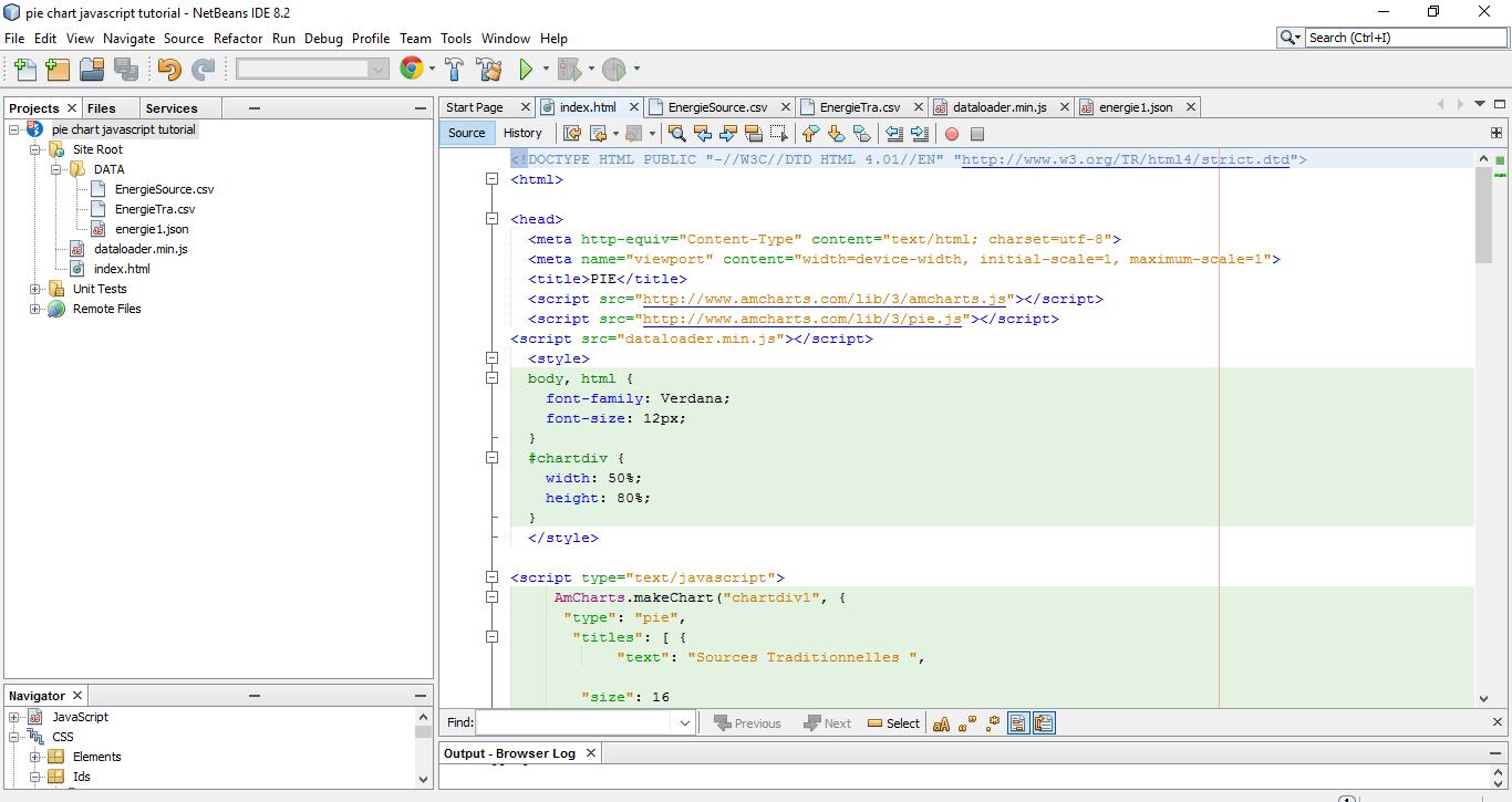 Html 5 / JS Application Pie Chart JavaSrcipt Tutorial