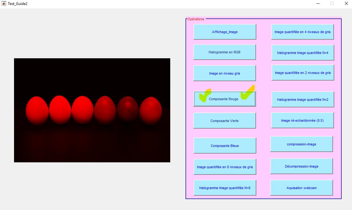 afficher la composante rouge d'une image matlab