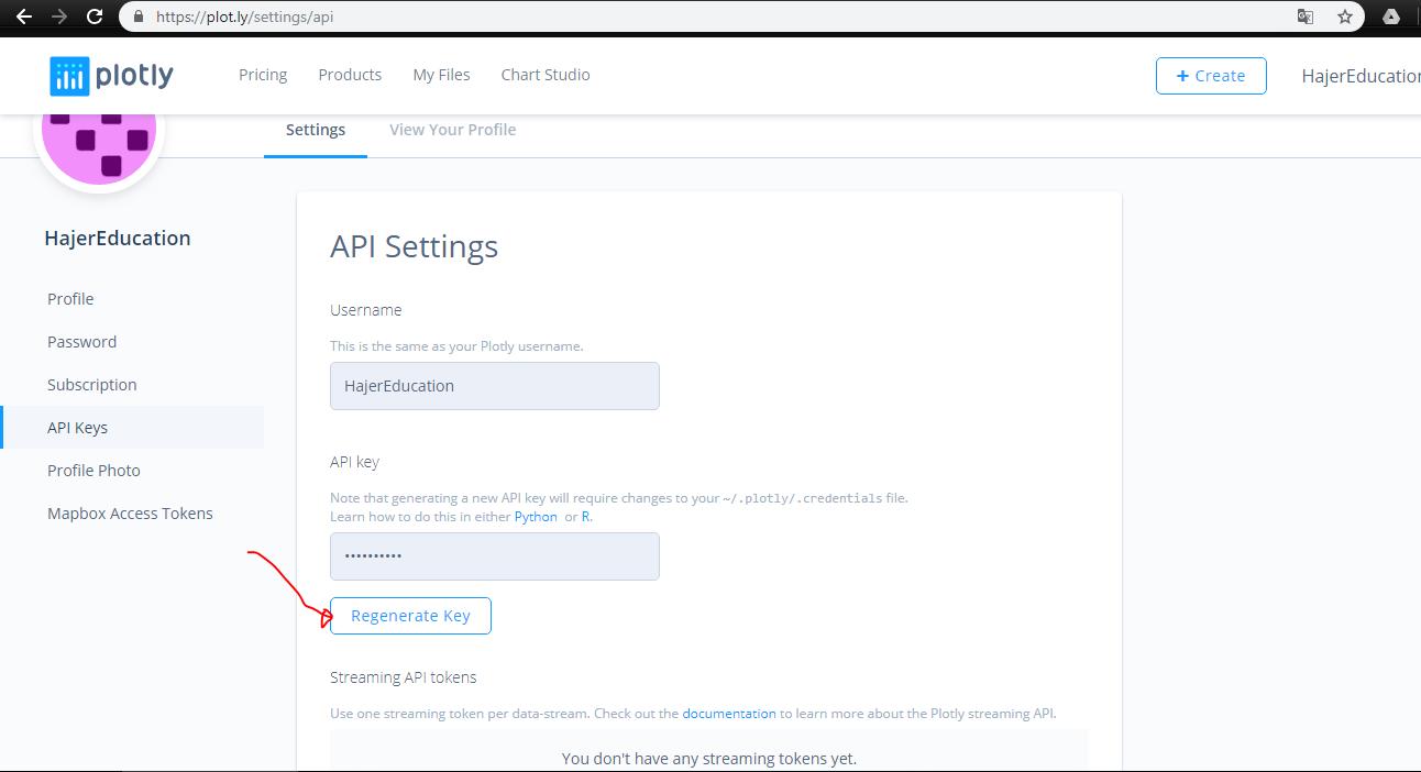 python Plotly tutorial : plotly API Settings