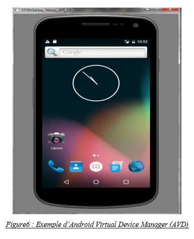 Exemple d'Android Virtual Device Manager (AVD)