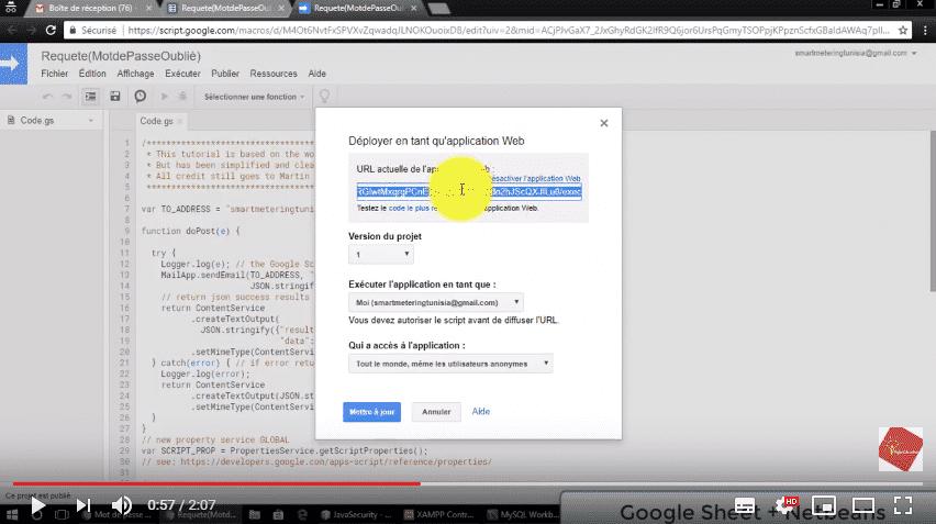 Comment envoyer une requête depuis une page web via Google Sheets à Adresse Email