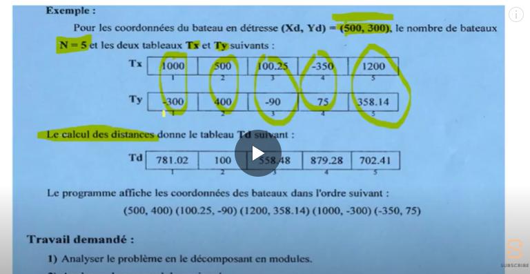 Problème algorithme épreuve info bac SP 2016 اعلامية باك شعب علمية اصلاح