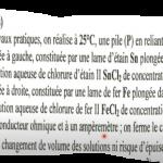 chimie Pile  exercice corrigé bac  + rappel cours  تفسير