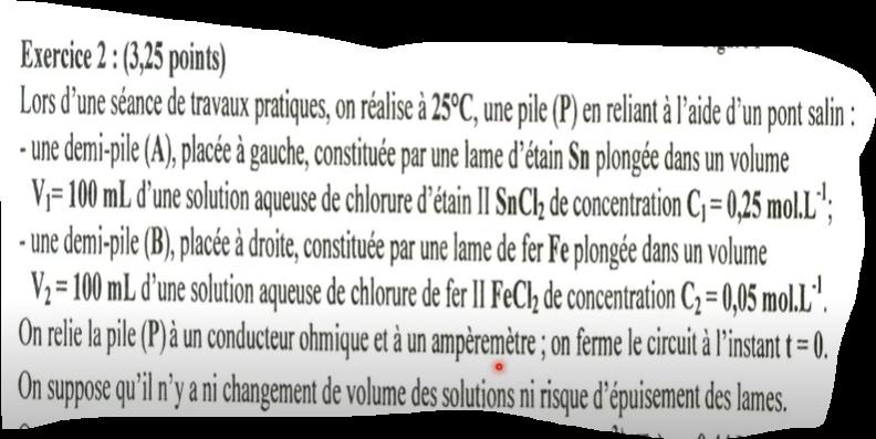 chimie Pile exercice corrigé bac