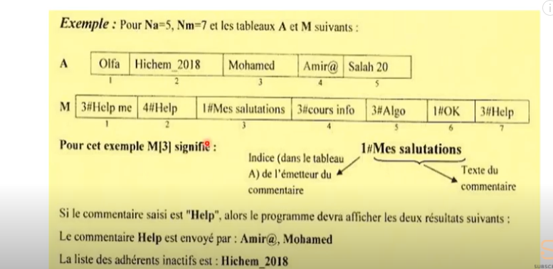 tableau algorithme exercice corrigé   épreuve informatique bac partie algo شرح بالعربي